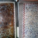 Adhesive removal and cleaning on mosaic tile entry