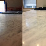 Kitchen counter top marble polishing and sealant application