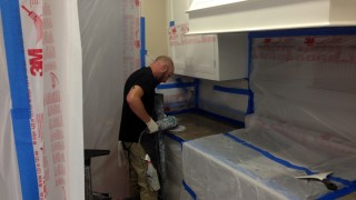 Marble polishing and sealant application on counter tops